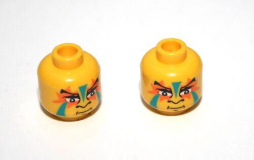 2x LEGO® Kopf mit Kriegs-Bemalung grün//orange Indianer 3626bpx61 NEU Gelb