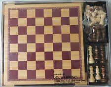 WOODFIELD COLLECTION CHESS & CHECKERS SET WOODEN BOARD & PIECES ITEM # 61876