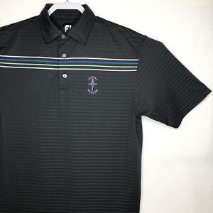 Footjoy-FJ-Mens-Sz-Large-Golf-Polo-Shirt-Polyester-Spandex-Stripe-Short-Sleeve