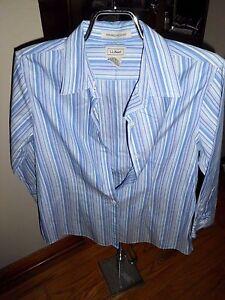 Women-039-s-L-L-Bean-White-Blue-Striped-3-4-Sleeve-Button-Shirt-Size-S-VGC