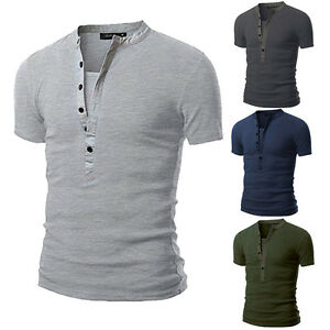 New-Men-039-s-Slim-Fit-V-Neck-T-shirt-Muscle-Tee-Casual-Tops-Short-Sleeve-Blouse