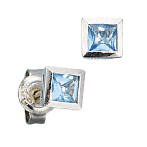 925 Silber Kristall Quadrat blau 5mm Stecker Ohrstecker Damen
