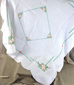 Vintage Tablecloth Art Deco Hand Embroidered Square Cover Cloth pomegranate