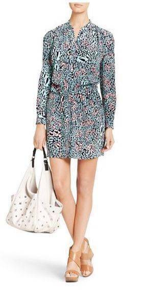 DVF Diane Von Furstenberg DEANDRA Silk Shirtdress Dress Snow Leopard Spot