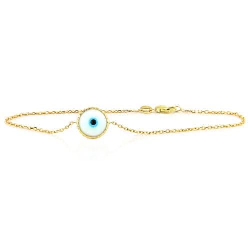 Handmade 14K Yellow Gold Evil Eye Bracelet 7.5 Inches