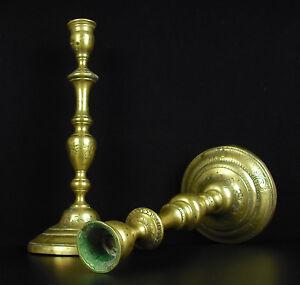 Coppia Of Candelieri Coppia Di Candeliere Antico IN Bronzo XVIII/XIX H:26 CM