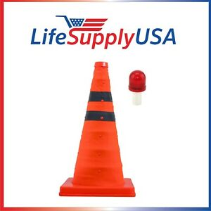 """Collapsible 18"""" Reflective Pop Up Safety Extendable Traffic Cone w LED Light"""