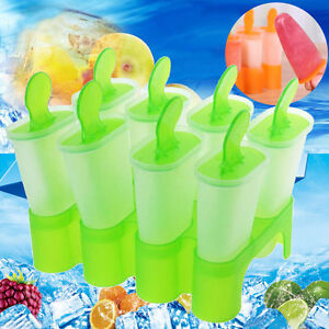 8 Cell Frozen Ice Cream Pop Mold Popsicle Maker Lolly Mould Tray Pan Kitchen DIY