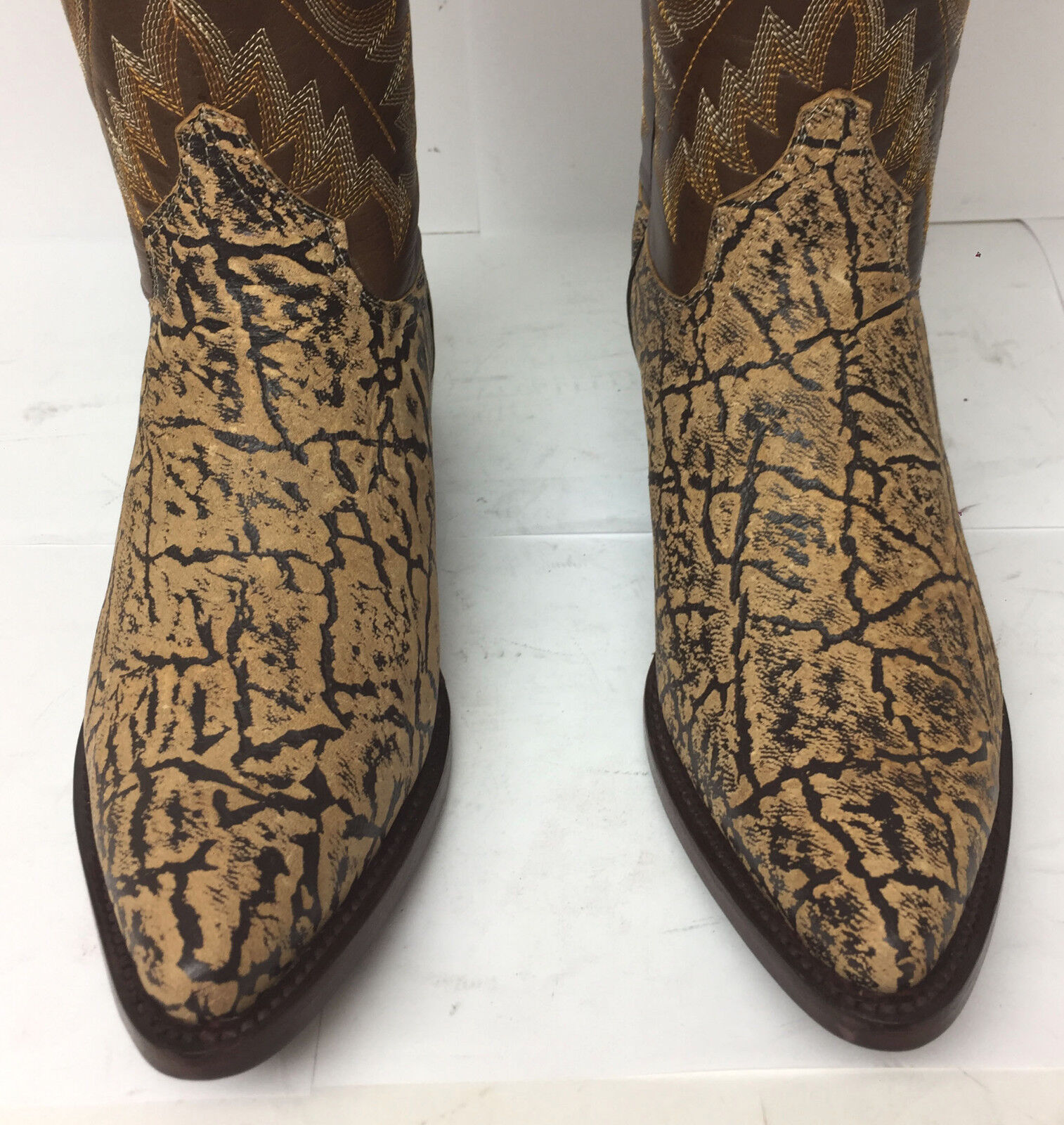 New Mens Beige Sand Elephant Exotic Design Leather Western Rodeo Rodeo Rodeo Cowboy Stiefel 899a26