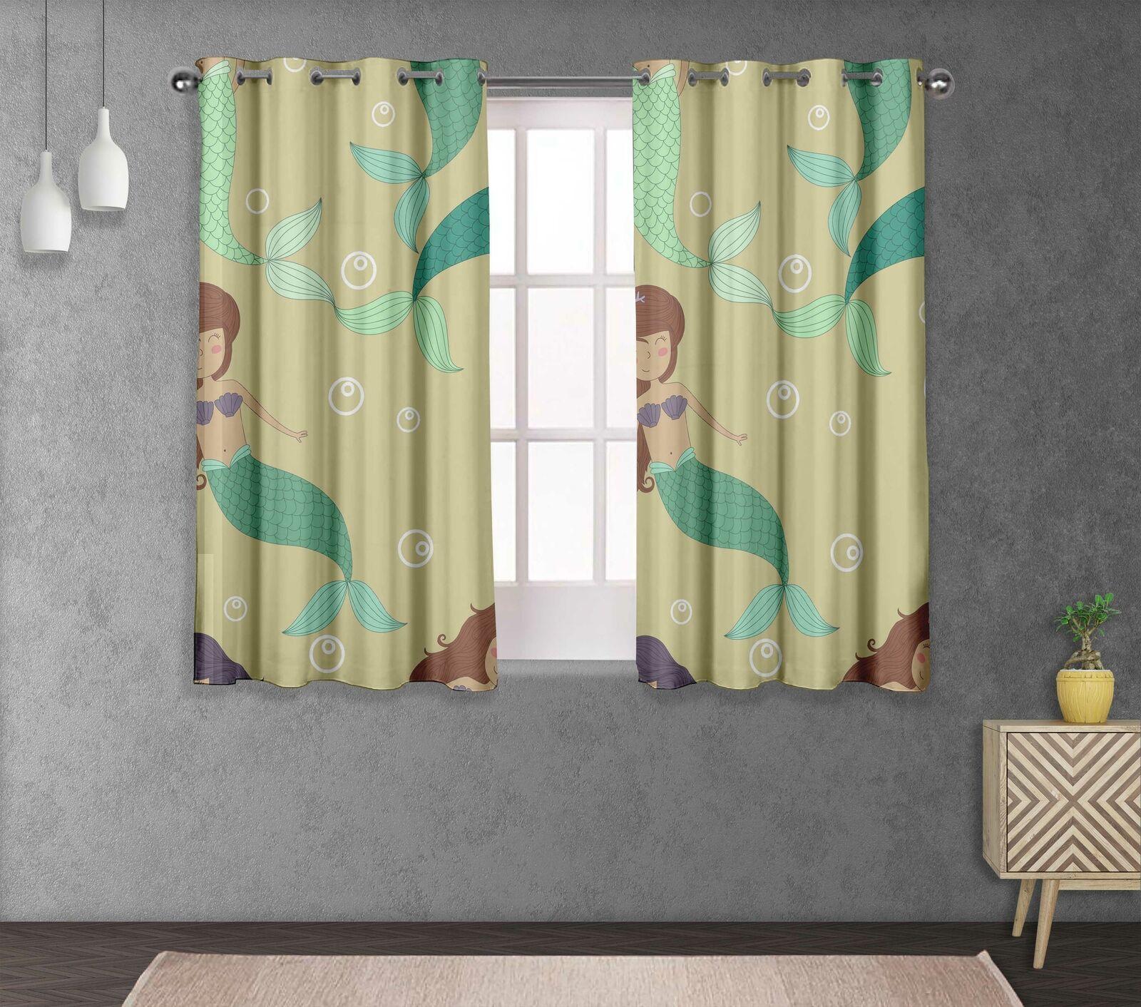 S4sassy Bubbles & Mermaid Double Panel Window Treatment Curtain -OC-562H