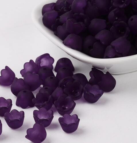 50 Violet Givré Lucite Acrylique Cloche Coupe Fleur Perles 10 mm Top Qualité LUC40