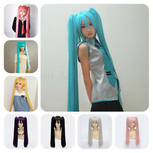Long-Straight-60cm-120cm-Vocaloid-Hatsune-Miku-2-Ponytails-Anime-Cosplay-Wig