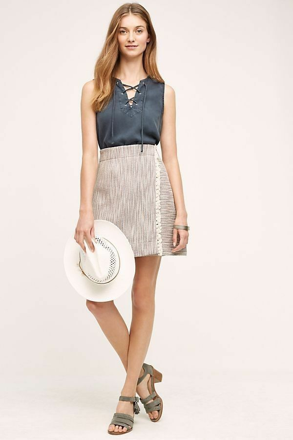 Anthropologie Maeve Wrapped Fringe Skirt Size 2 Pristine