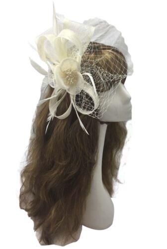Petite Fleur Cheveux Plume Chapeau Bandeau Clip Maille Mariage Royal Ascot