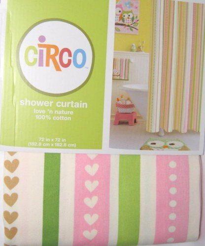 Circo Love Nature Owls Stripe Fabric Shower Curtain Kids Bath Pink NEW