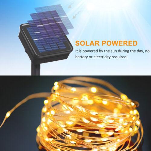 100 200 LED Kupferdraht Solar Lichterkette Garten Party Deko Außen Beleuchtung