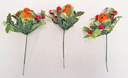 20cm Set of 3 Robin Berry /& Foliage Picks Christmas Birds Winter Decor
