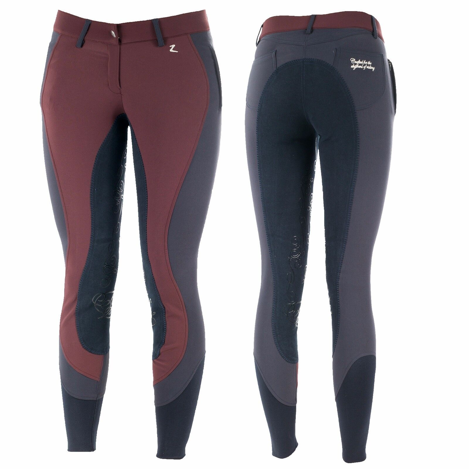 Horze Kiana Full Seat Breeches in Maroon/Navy