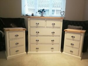 Wood Bedside Cabinets And Large Chest