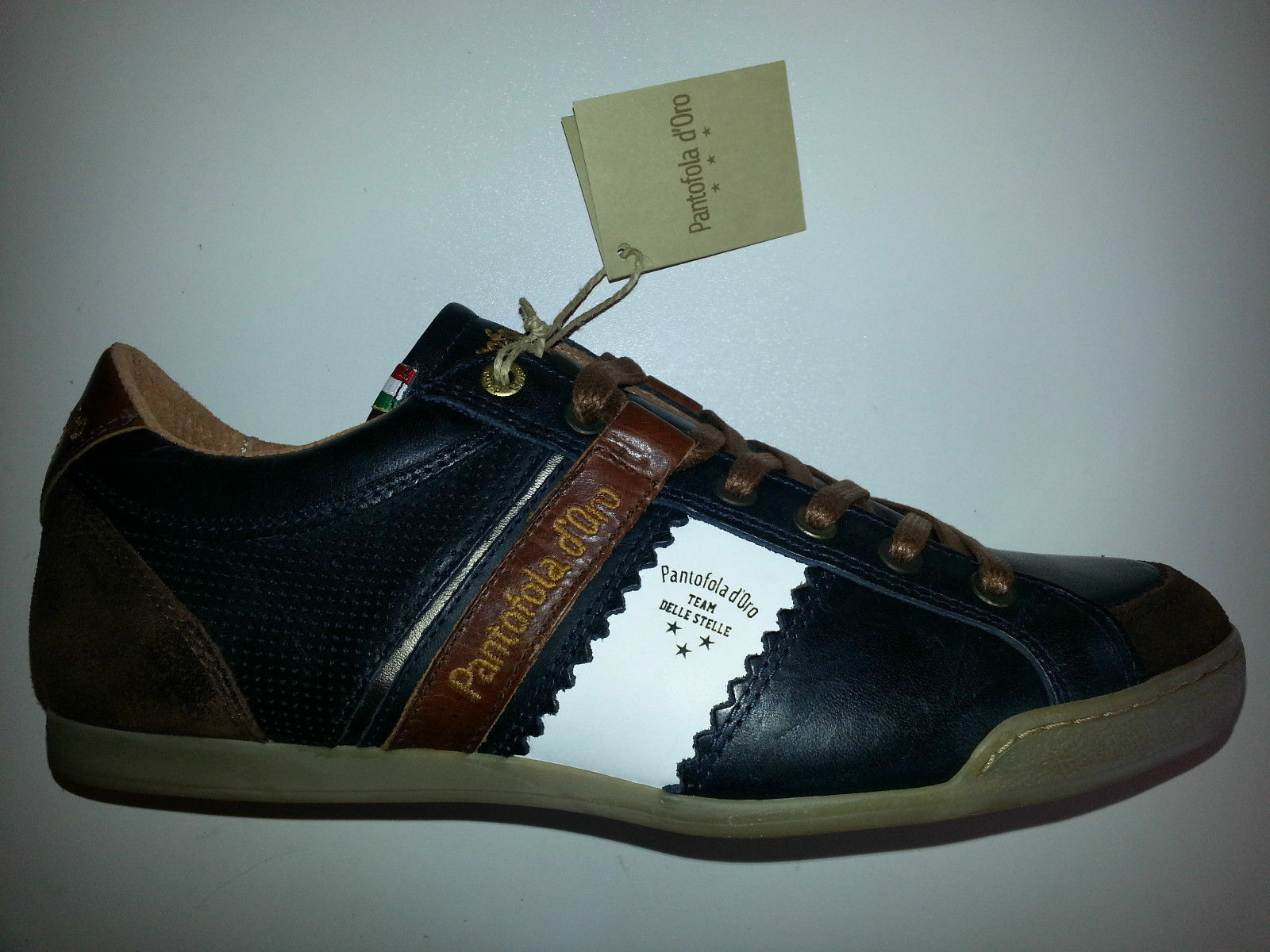 Pantofola dGold Pesaro Piceno Low Leder Turnschuhe mehrfarbig Größen 41-42-43 NEU