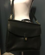 Coach Metropolitan Black Leather Briefcase Cross Body Laptop Bag Vintage