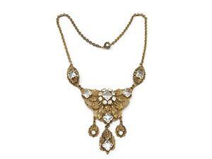 Antique-Czech-Brass-and-Glass-Ornate-Necklace
