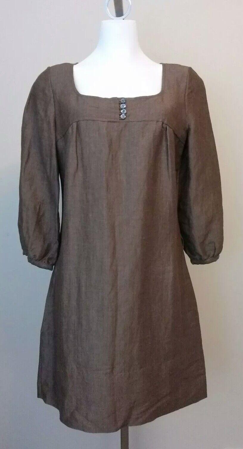 NWT Generra damen braun Linen Blend Tunic Top Dress Größe Large