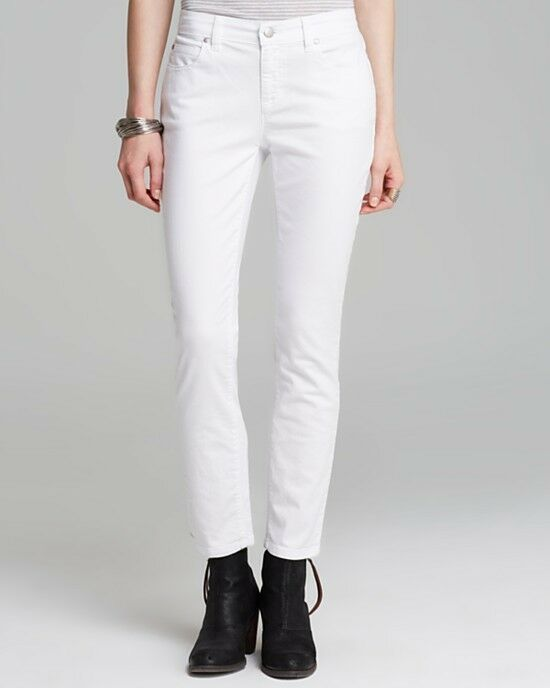 Eileen Fisher Cotton Stretch Twill, Skinny Ankle Jean, White, 4P, NWT