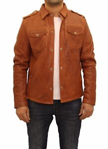 Men's Brown Tan Real Leather Classic Shirt Style Stud ...