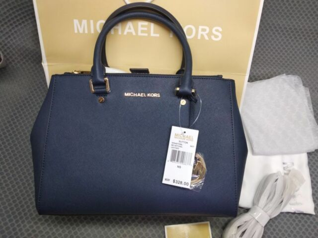 a1c149a12359 Genuine Women's Michael Kors Sutton medium Satchel Saffiano Leather handbag  navy