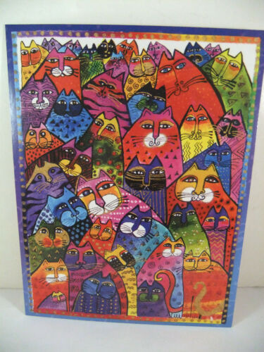 Laurel Burch Any Occasion Blank Card Multiple Bright Feline Cats Faces New