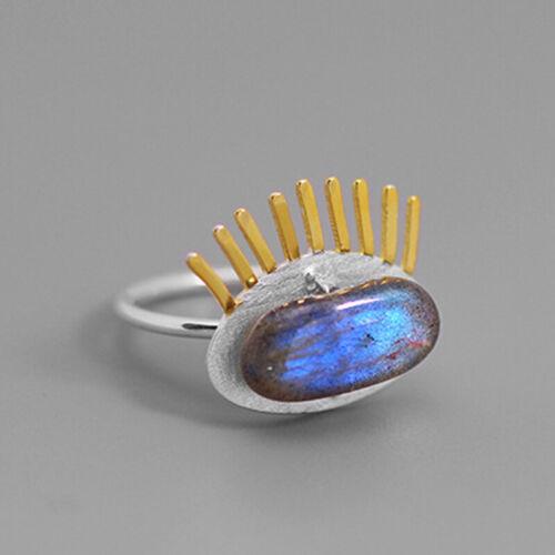 Eyelashes Natural Stone Labradorite Solid 925 Silver Oval Gemstone Women Ring