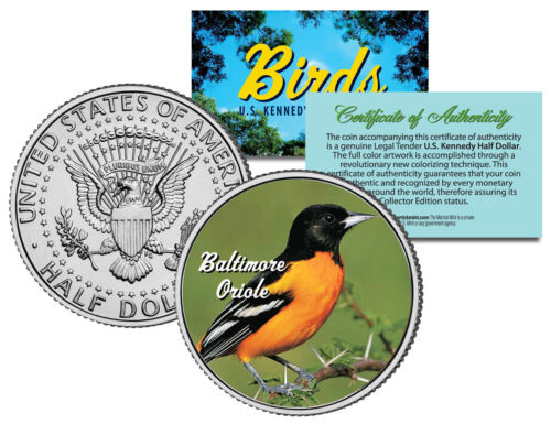 BALTIMORE ORIOLE Bird Collection Official Kennedy Half Dollar U.S Coin w// COA