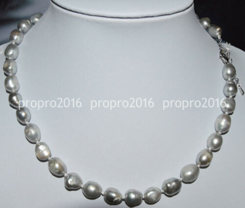20inches Natural 9-10mm baroque Silvery white freshwater pearl necklace PN1080
