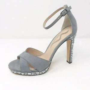 dfff719d24d Image is loading Nina-jeweled-gray-faux-suede-high-heeled-sandals-