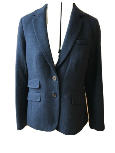 Joules Blu Tweed Misto Lana hacking Jacket 10 NUOVI