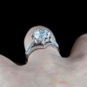 2.50 Ct Round Moissanite Band Set 14K Real White Gold Proposal Anniversary Ring