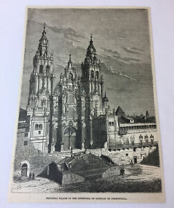 1885-magazine-engraving-CATHEDRAL-OF-SANTIAGO-OF-COMPOSTELLA-Spain