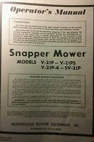 Snapper Lawn Mower V-21p V-21ps V-21p-4 Sv-21p Owner, Service, Parts Manual 4pg