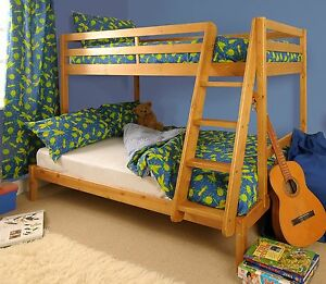 Triple Bunk Bed 3ft 4ft Wooden Pine With Storage Mattress