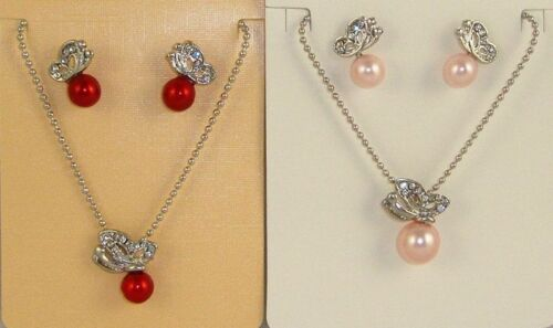 PURPLE OR RED RHINESTONE CRYSTAL BUTTERFLY PEARL NECKLACE EARRINGS SET PINK