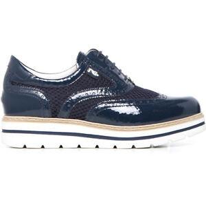 Stringata sneakers donna pelle vernice blu 717212 NERO GIARDINI 37 39