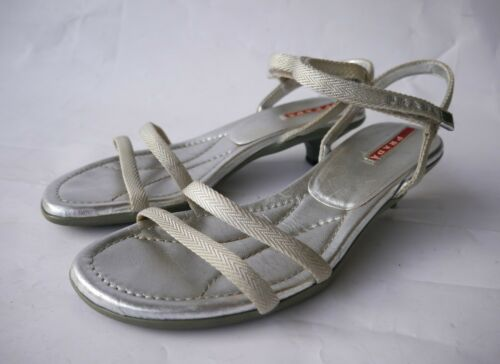 36 Textil Prada 5 schuhe Leder Pumps Sandalen Silber Damen Sandaletten iOkZuPX