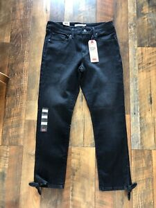 Levis-Sz-10-Classic-Mid-Rise-Skinny-Ankle-Black-Tie-At-Ankle-Jeans-Stretch