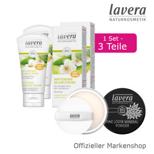 3tlg. lavera mattierendes Anti-Glanz Set Balancecreme Fine Loose Mineral Powder