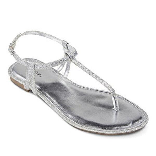 Xhilaration Women's Crystal Thong Sandals 6 - Silver Glitter Size 6 Sandals c61caf