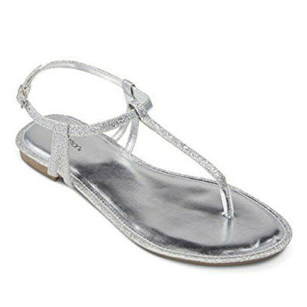 cd93e6a99deed8 Xhilaration Women s Crystal Thong Sandals - Silver Glitter Size 6 ...