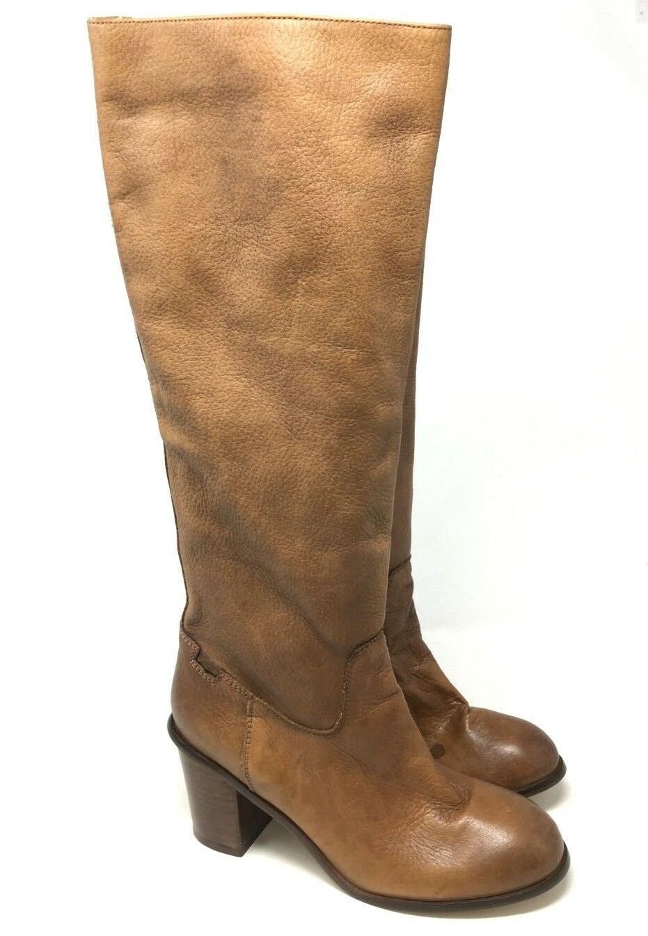 New Seychelles Knee High Camel  Leather Heel Boots Size 9
