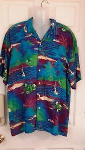 Gazoz-surf-wear-Hawaiin-shirt-size-Large-aloha-blue-purple-ocean-mountain-Palm