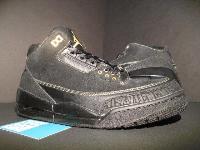 2011 - nike air jordan iii 3 retrò bhm nero history month oro cemento grigio og - 9
